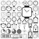 Clock icon set on white background Royalty Free Stock Photos