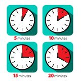 Clock Icon Stopwatch Set. Vector Five, Ten, Fifteen and Twenty Minutes Time Symbols. Clock Icon Stopwatch Set. Vector Five, Ten, Fifteen and Twenty Minutes Time stock illustration