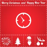 Clock Icon Vector. And bonus symbol for New Year - Santa Claus, Christmas Tree, Firework, Balls on deer antlers Royalty Free Stock Photos
