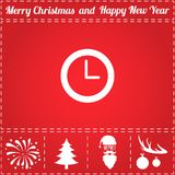 Clock Icon Vector. And bonus symbol for New Year - Santa Claus, Christmas Tree, Firework, Balls on deer antlers Royalty Free Stock Photography