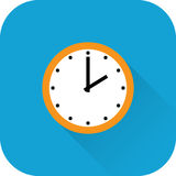 Clock icon. Vector. Flat design with long shadow. Royalty Free Stock Photos