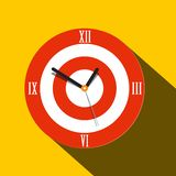 Clock Icon. Vector Flat Design Time Symbol. On Yellow Background royalty free illustration