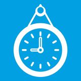 Clock icon white Stock Image