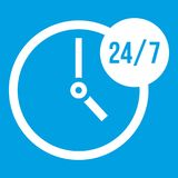 Clock 24 7 icon white. Isolated on blue background vector illustration Stock Photo