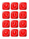 Clock icons with different time on red background with metallic frame Royalty Free Stock Photography