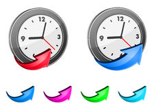 Clock icons and glossy arrows Stock Photography