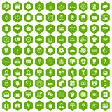 100 clock icons hexagon green. 100 clock icons set in green hexagon isolated vector illustration Stock Photos
