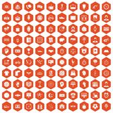 100 clock icons hexagon orange Stock Images