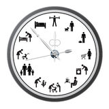 Clock of icons of people. Clock of icons of people, the concept of the working day. Vector illustration Royalty Free Stock Image