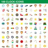100 clock icons set, cartoon style. 100 clock icons set in cartoon style for any design illustration stock illustration