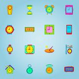 Clock icons set, cartoon style. Clock icons set. Cartoon illustration of 16 clock vector icons for web Royalty Free Stock Image