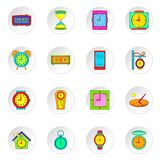 Clock icons set, flat style. Clock icons set. Flat illustration of 16 clock vector icons for web Royalty Free Stock Photography