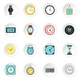 Clock icons set, flat style. Clock icons set. Flat illustration of 16 clock vector icons for web Royalty Free Stock Image