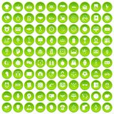100 clock icons set green circle Stock Photography