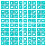 100 clock icons set grunge blue. 100 clock icons set in grunge style blue color isolated on white background vector illustration Royalty Free Stock Photos