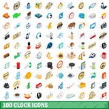 100 clock icons set, isometric 3d style Royalty Free Stock Images