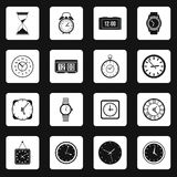 Clock icons set in simple style Royalty Free Stock Image