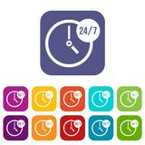 Clock 24 7 icons set Royalty Free Stock Images