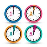 Clock Icons Set. Vector Time Symbol. Isolated on White Background royalty free illustration