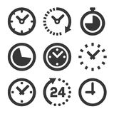 Clock Icons Set on White Background. Vector Royalty Free Stock Images