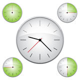 Clock illustration. 15 min interval timer icons Royalty Free Stock Photography