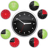 Clock illustration. 15 min interval timer icons Royalty Free Stock Images