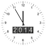 Clock Illustration new years eve 5 to 12. Illustration of a Clock with year 2014 announcement showing 11:55 isolated on white background Royalty Free Stock Photo