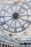 The clock inside of Stephen`s Green shopping centre in Dublin. DUBLIN, IRELAND - February 17th, 2018: the clock inside of Stephen`s Green shopping centre in Royalty Free Stock Photo