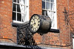 Clock in iron frame, Tewkesbury. Royalty Free Stock Images