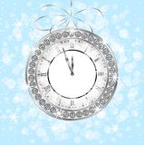 Clock with jewels on a festive background Stock Photo