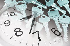 Clock and Keys Royalty Free Stock Photography