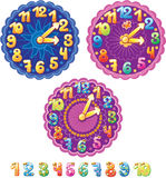 Clock for kids and numbers. Funny clock for kids and numbers Royalty Free Stock Photo