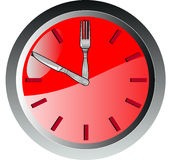 Clock with knife and fork time Stock Photo