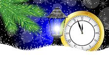 Clock and lantern with the branches of fir-tree on to snow. Vector  illustration Stock Photo