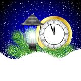 Clock and lantern with the branches of fir-tree on to snow. Vector  illustration Stock Photography