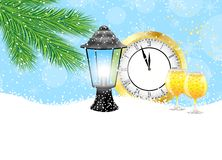 Clock, lantern and champagne with the branches of fir-tree on to. Snow,  vector  illustration Stock Images