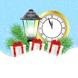 Clock, lantern and gifts with the branches of fir-tree on to sno. W,  vector  illustration Royalty Free Stock Image