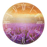 Clock with lavender. Stock Photos