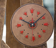 Clock from leather with decorations Royalty Free Stock Images