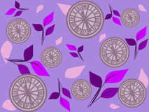 Clock and Leaves Background. The delicate background decorated with clocks and leaves in purple and violet tint Stock Photography