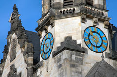 Clock in Leipzig, Germany. Blue clock on side of church in Leipzig, Germany Royalty Free Stock Photography