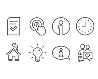 Clock, Light bulb and Checked file icons. Information, Click and Dating chat signs. Set of Clock, Light bulb and Checked file icons. Information, Click and royalty free illustration