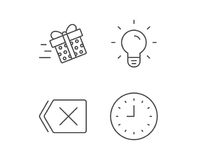 Clock, Light bulb and Gift box line icons. Royalty Free Stock Photography