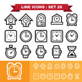 Clock line icons set 28 Royalty Free Stock Photography