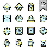Clock line icons set Royalty Free Stock Images