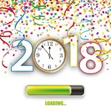 Clock 2018 Loading Silvester Confetti Ribbons. Colored confetti with ribbons, clock and date 2018 on the white Royalty Free Stock Photo