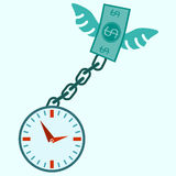 Clock locked, fly money and chain. Royalty Free Stock Images