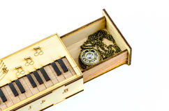 Clock Locket Necklace in wooden box Stock Images