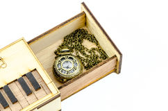 Clock Locket Necklace in wooden box Stock Photos