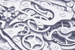 Clock machinery 3D rendering with gears close-up view. Flat fashion colors style. Stock Photo